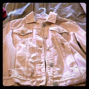 Distressed blush jean jacket